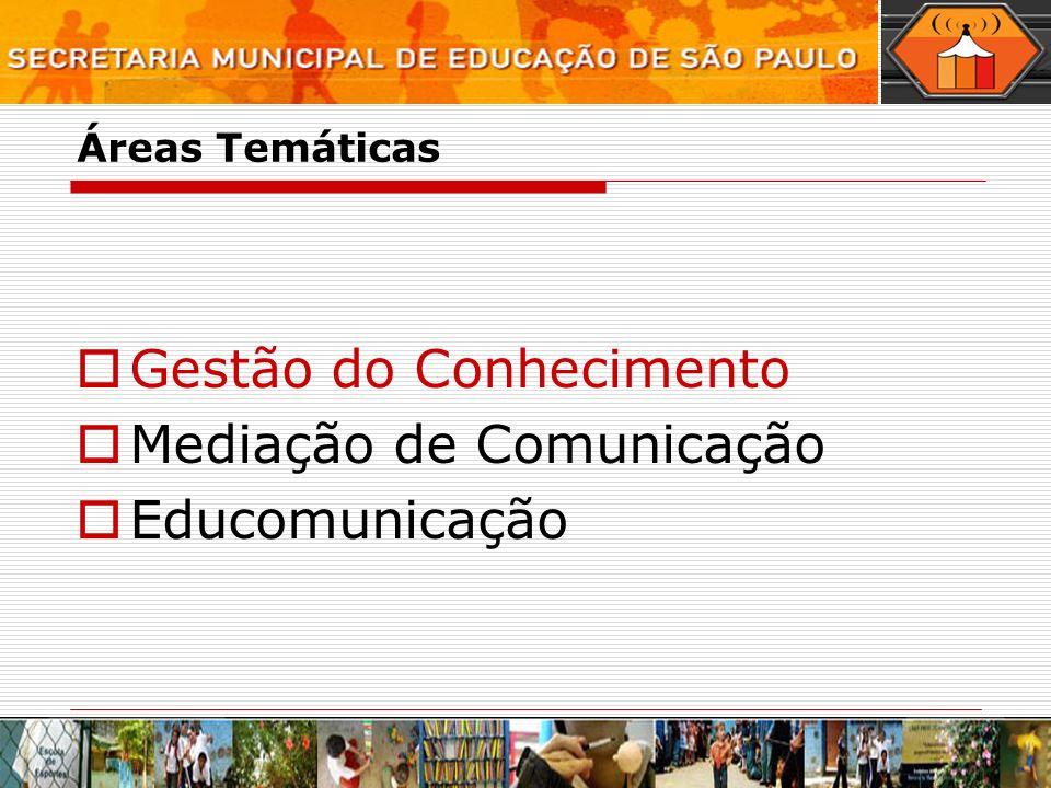 Áreas Temáticas Gestão do Conhecimento Mediação de Comunicação Educomunicação