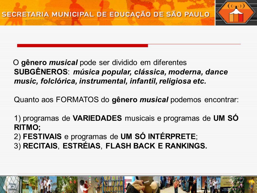 O gênero musical pode ser dividido em diferentes SUBGÊNEROS: música popular, clássica, moderna, dance music, folclórica, instrumental, infantil, relig