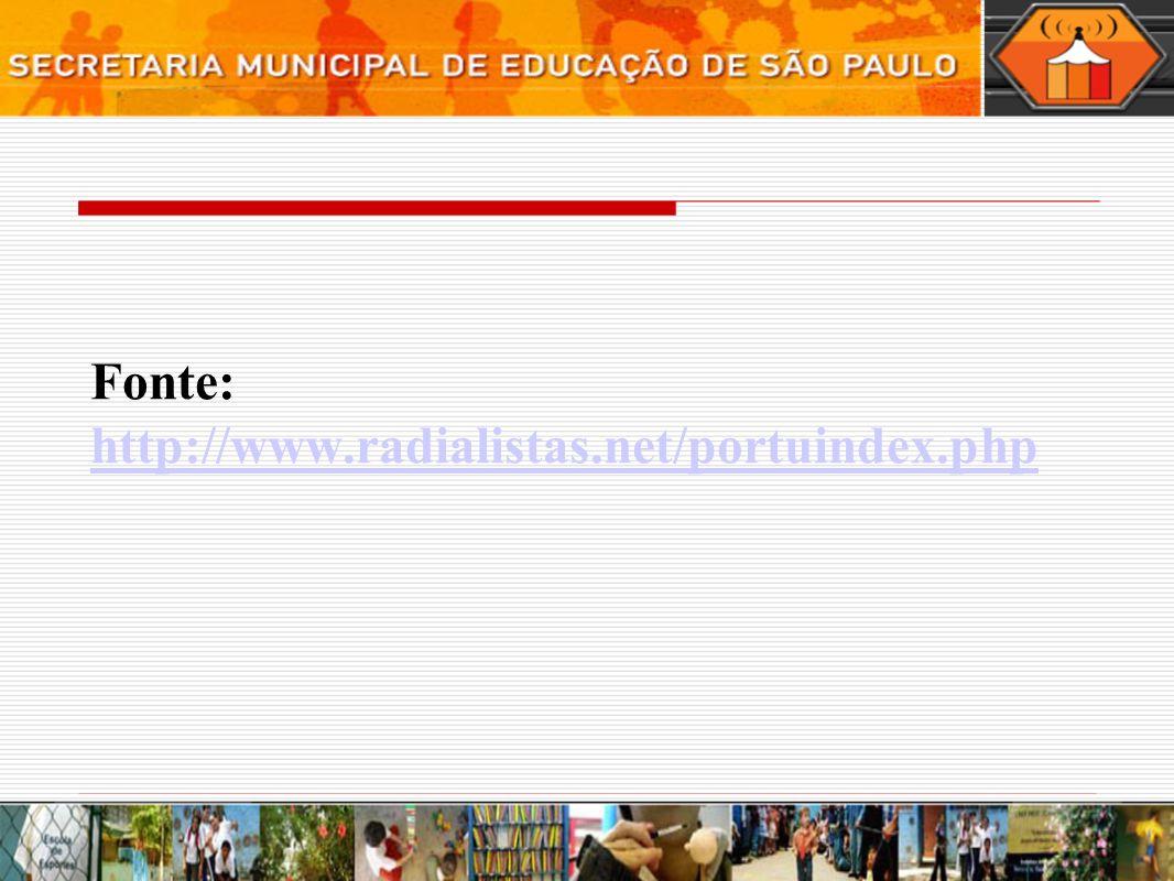 Fonte: http://www.radialistas.net/portuindex.php http://www.radialistas.net/portuindex.php