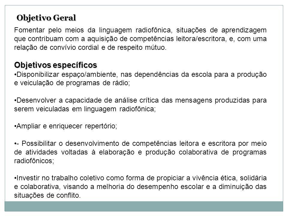 Metodologia de avaliação Avaliação processual e formativa, com paradas periódicas, de toda a equipe, para reflexão sobre o desenvolvimento do projeto, e, desempenho individual e coletivo dos participantes.