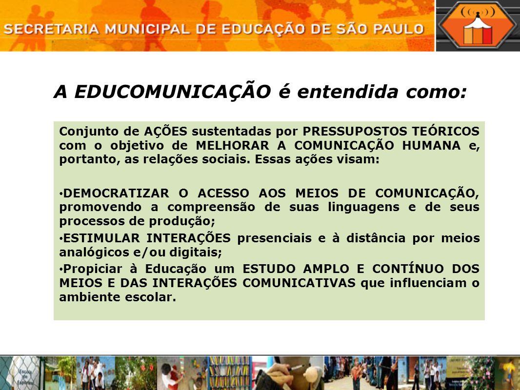 A EDUCOMUNICAÇÃO é entendida como: Conjunto de AÇÕES sustentadas por PRESSUPOSTOS TEÓRICOS com o objetivo de MELHORAR A COMUNICAÇÃO HUMANA e, portanto