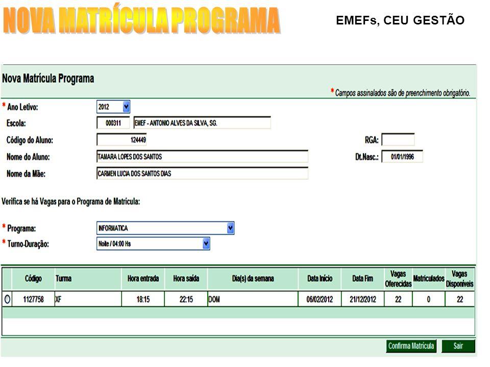EMEFs, CEU GESTÃO