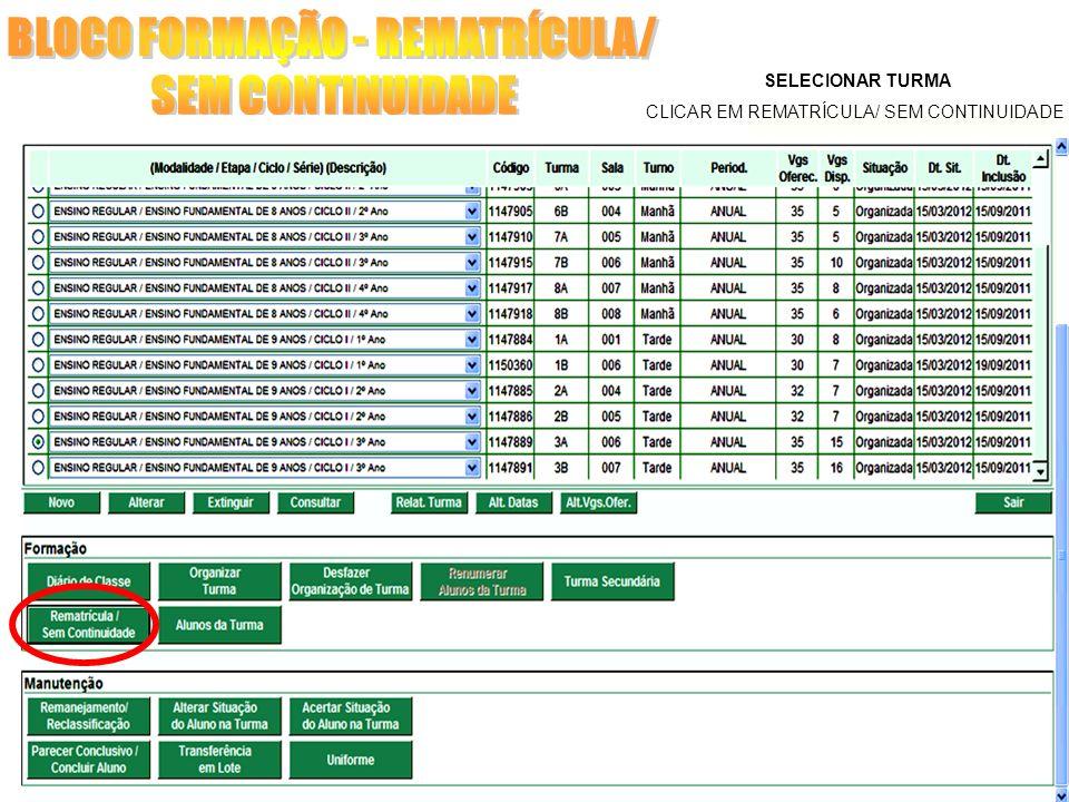 SELECIONAR TURMA CLICAR EM REMATRÍCULA/ SEM CONTINUIDADE