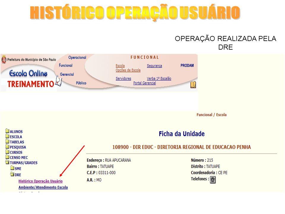 OPERAÇÃO REALIZADA PELA DRE