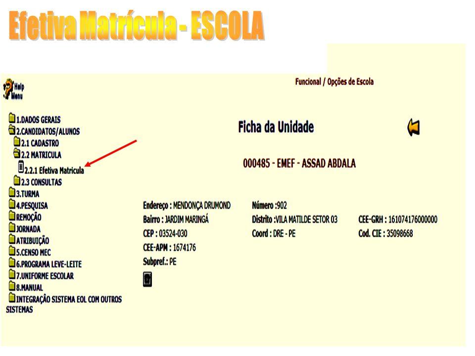 Efetiva Matrícula - ESCOLA Essa tela será utilizada pela Escola para Recusar ou Efetivar uma Matrícula de candidatos/alunos inscritos na compatibilização.