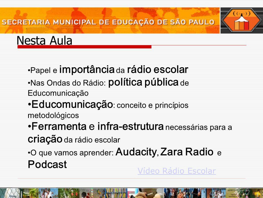 Nesta Aula Papel e importância da rádio escolar Nas Ondas do Rádio: política pública de Educomunicação Educomunicação : conceito e princípios metodoló