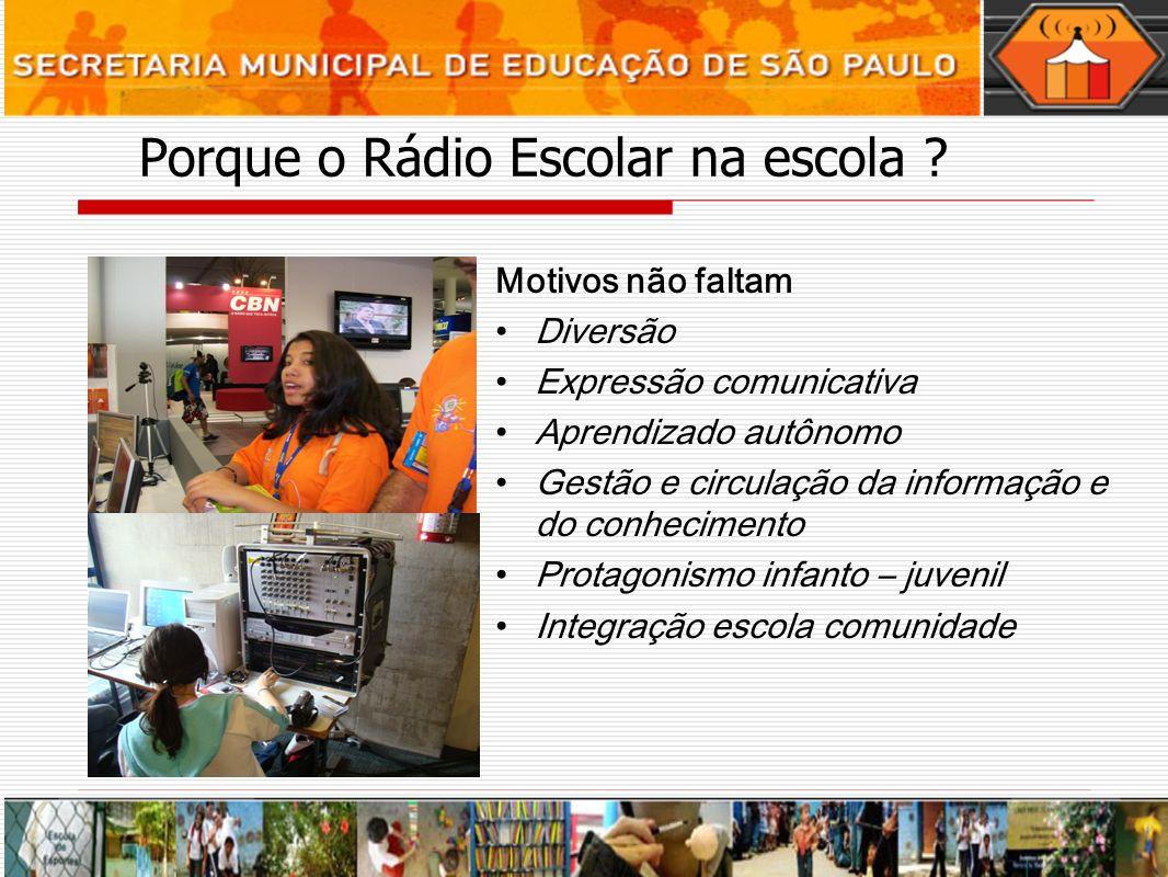 Porque o Rádio Escolar na escola ? Motivos não faltam Diversão Expressão comunicativa Aprendizado autônomo Gestão e circulação da informação e do conh
