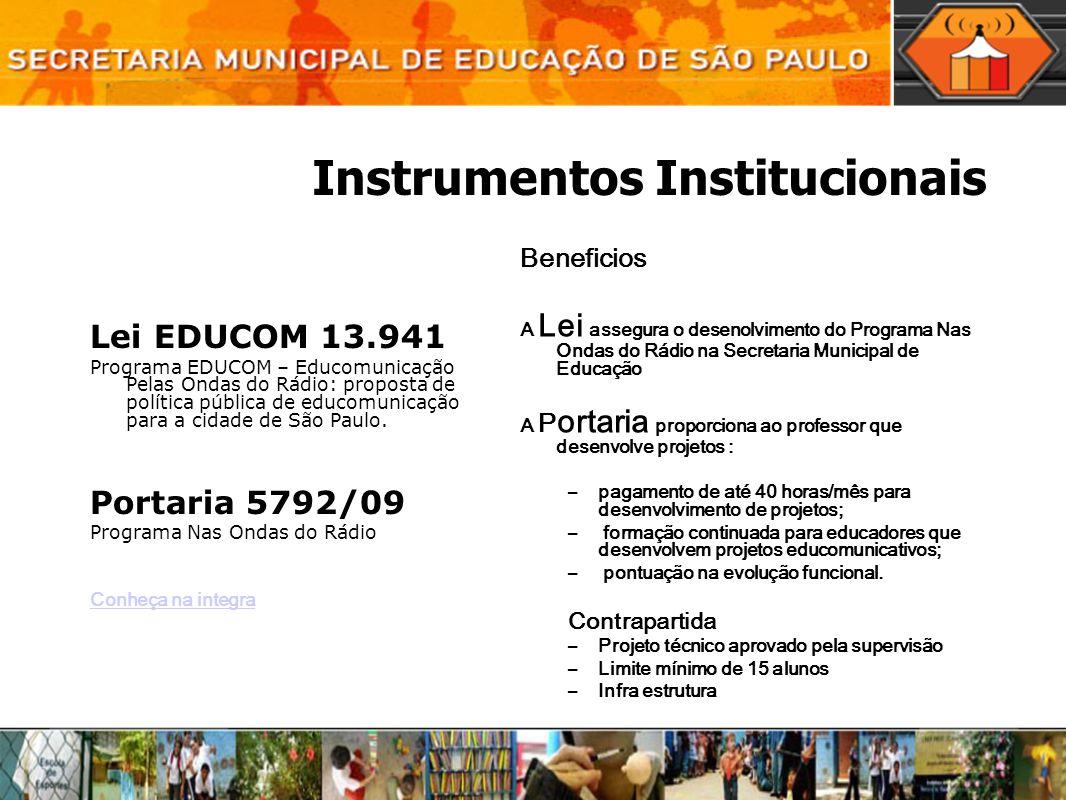 Instrumentos Institucionais Lei EDUCOM 13.941 Programa EDUCOM – Educomunicação Pelas Ondas do Rádio: proposta de política pública de educomunicação pa