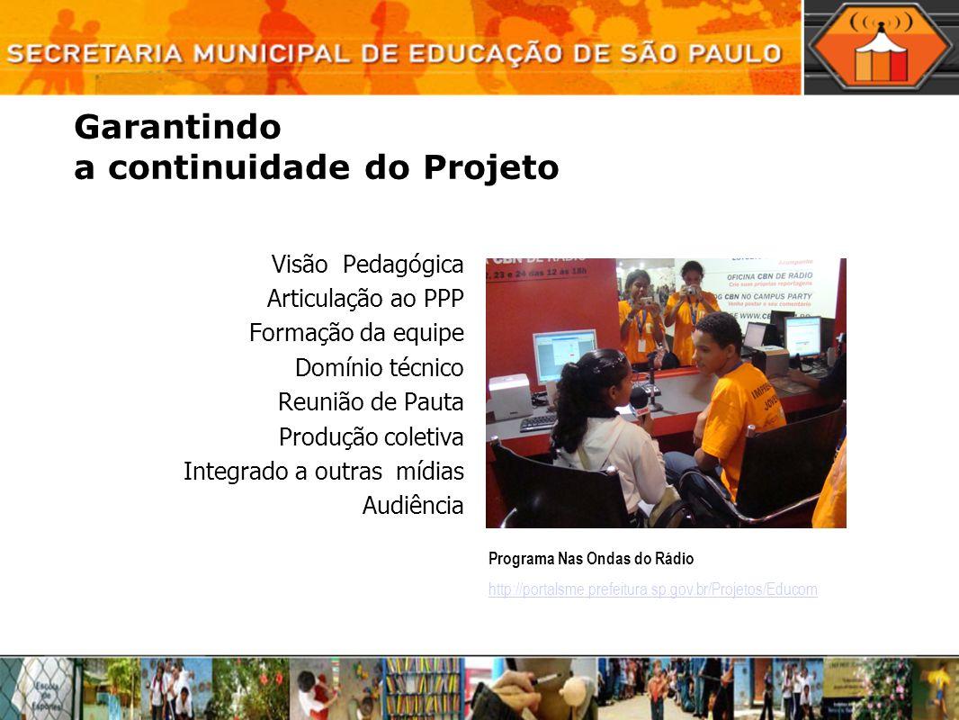 Garantindo a continuidade do Projeto Visão Pedagógica Articulação ao PPP Formação da equipe Domínio técnico Reunião de Pauta Produção coletiva Integra