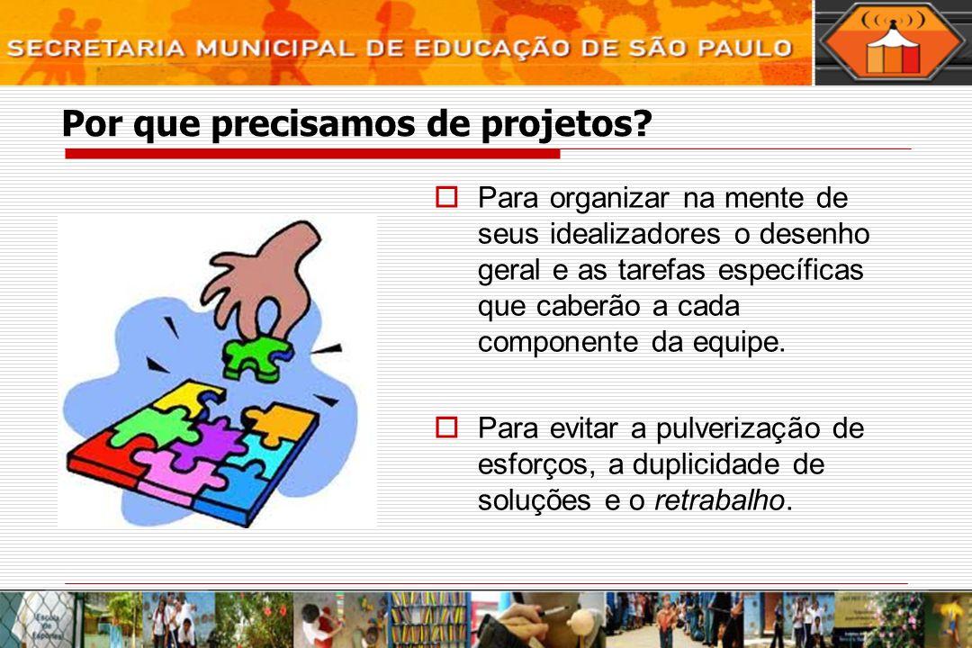 Por que precisamos de projetos? Para organizar na mente de seus idealizadores o desenho geral e as tarefas específicas que caberão a cada componente d