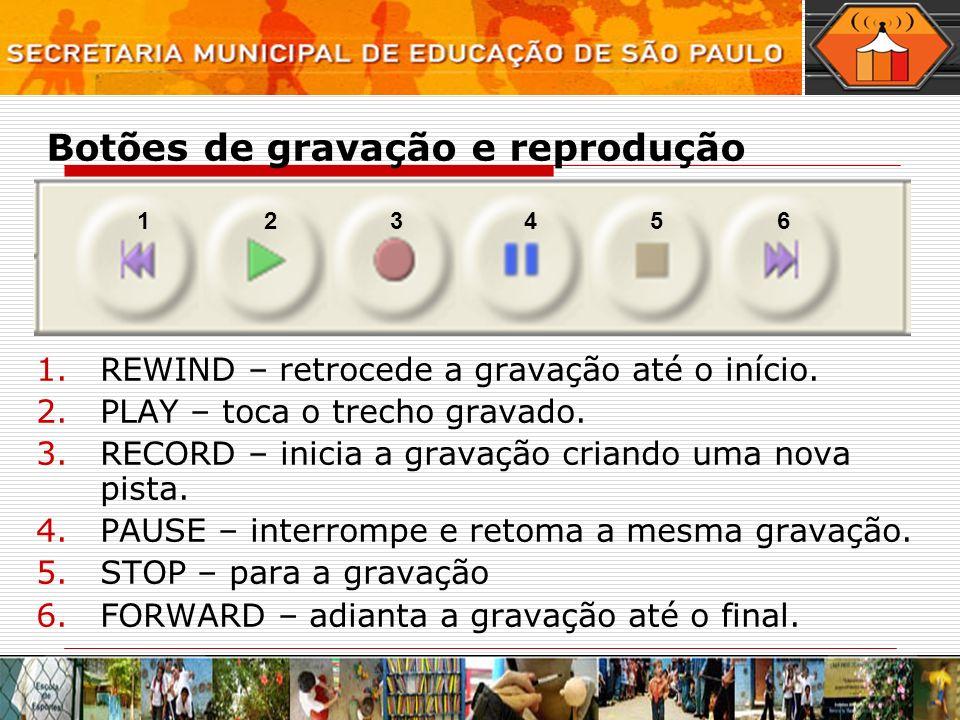 Botões de gravação e reprodução 1.REWIND – retrocede a gravação até o início. 2.PLAY – toca o trecho gravado. 3.RECORD – inicia a gravação criando uma