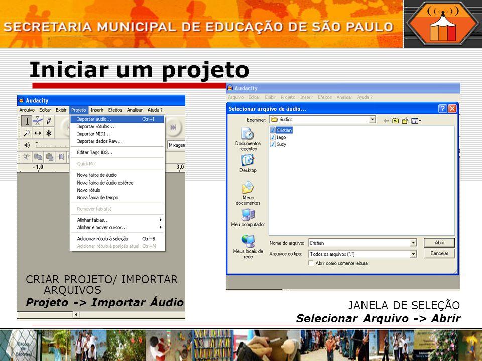 Abrir e selecionar arquivos 1.ABRIR UMA PISTA 2. SELECIONAR UMA PISTA Clicar na área cinza 3.