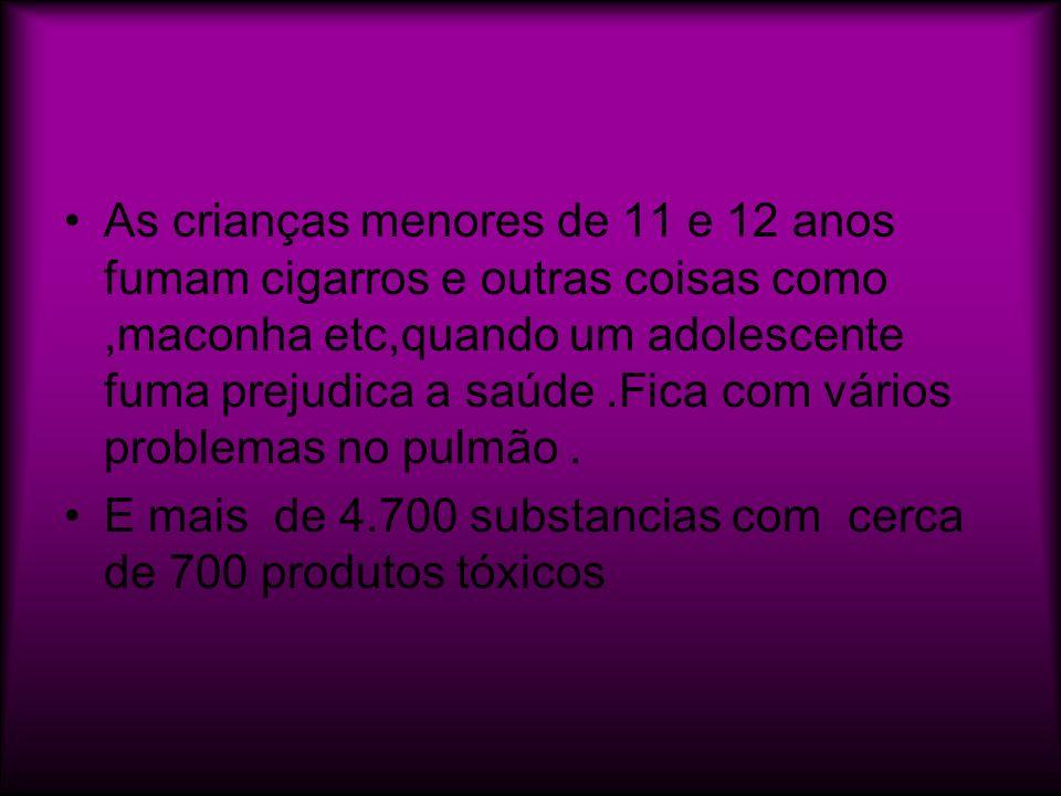 As crianças menores de 11 e 12 anos fumam cigarros e outras coisas como,maconha etc,quando um adolescente fuma prejudica a saúde.Fica com vários probl