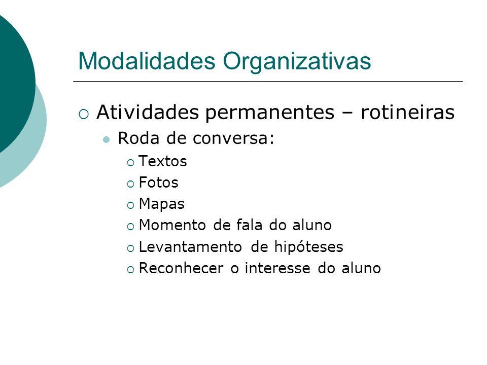 Modalidades Organizativas Atividades permanentes – rotineiras Roda de conversa: Textos Fotos Mapas Momento de fala do aluno Levantamento de hipóteses