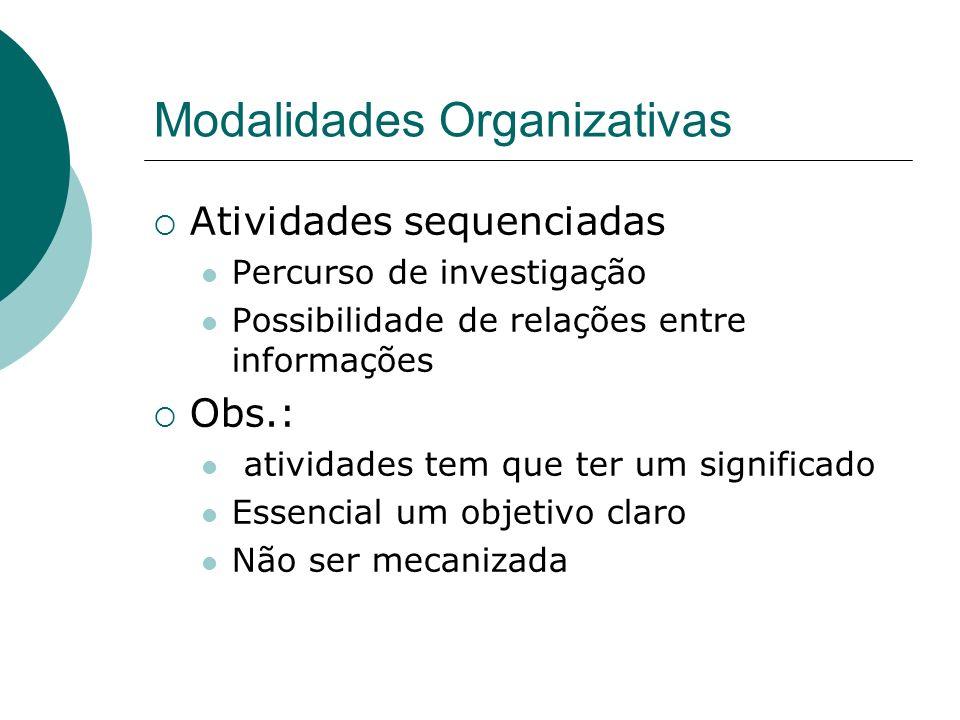 Modalidades Organizativas Atividades sequenciadas Percurso de investigação Possibilidade de relações entre informações Obs.: atividades tem que ter um