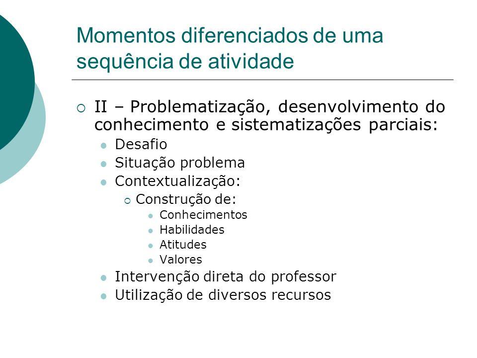 Momentos diferenciados de uma sequência de atividade II – Problematização, desenvolvimento do conhecimento e sistematizações parciais: Desafio Situaçã