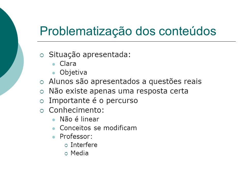 Problematização dos conteúdos Situação apresentada: Clara Objetiva Alunos são apresentados a questões reais Não existe apenas uma resposta certa Impor