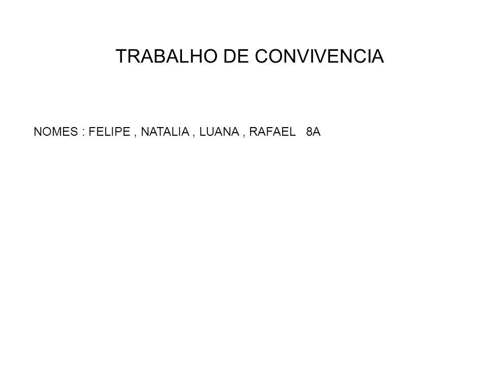 TRABALHO DE CONVIVENCIA NOMES : FELIPE, NATALIA, LUANA, RAFAEL 8A
