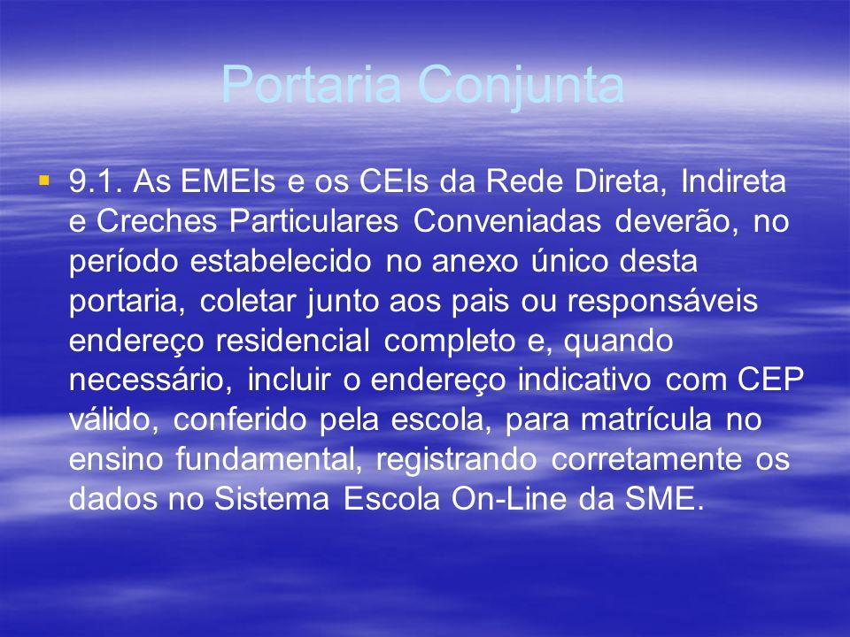 Portaria Conjunta 9.1. As EMEIs e os CEIs da Rede Direta, Indireta e Creches Particulares Conveniadas deverão, no período estabelecido no anexo único