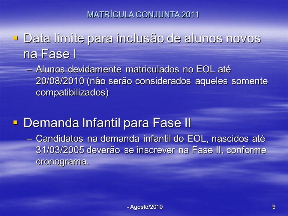 - Agosto/20109 MATRÍCULA CONJUNTA 2011 Data limite para inclusão de alunos novos na Fase I Data limite para inclusão de alunos novos na Fase I –Alunos
