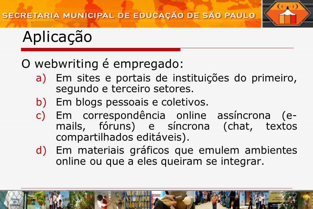Aplicação O webwriting é empregado: a)Em sites e portais de instituições do primeiro, segundo e terceiro setores. b)Em blogs pessoais e coletivos. c)E