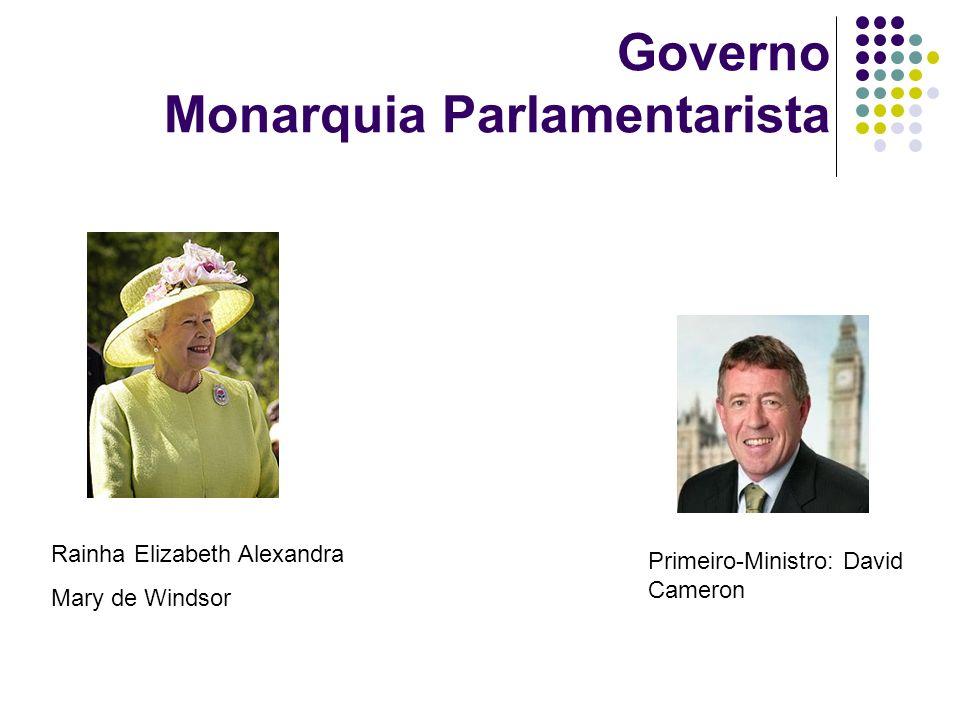 Governo Monarquia Parlamentarista Primeiro-Ministro: David Cameron Rainha Elizabeth Alexandra Mary de Windsor