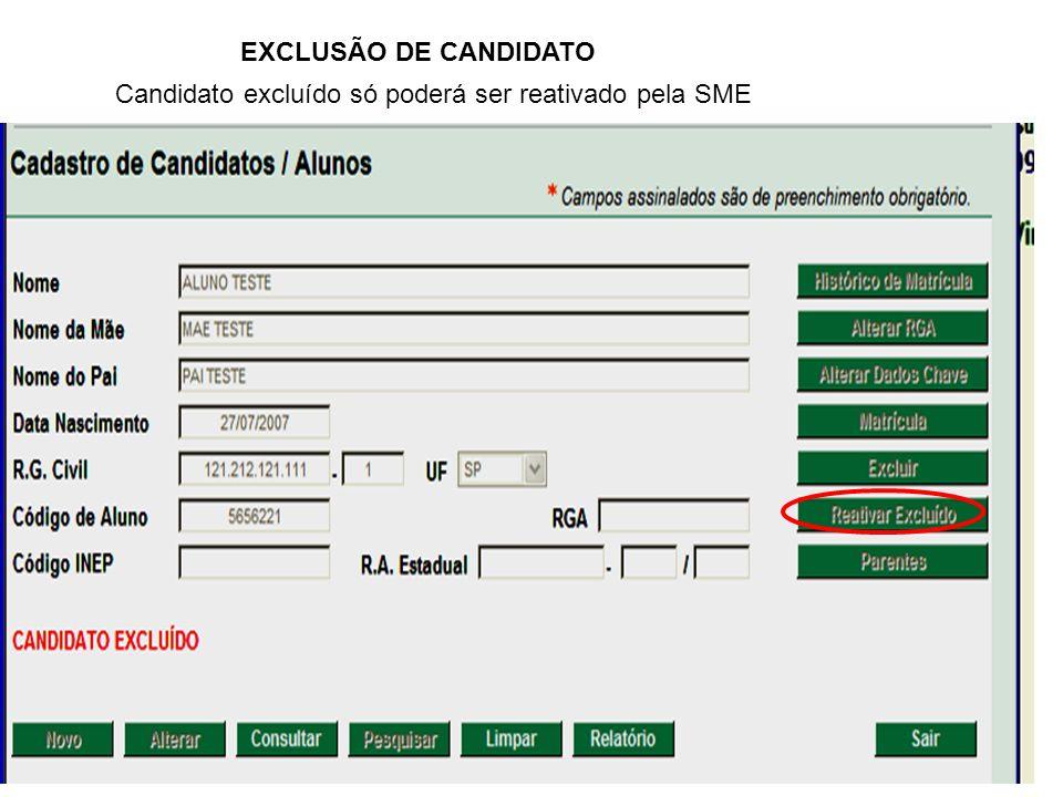 Candidato excluído só poderá ser reativado pela SME EXCLUSÃO DE CANDIDATO