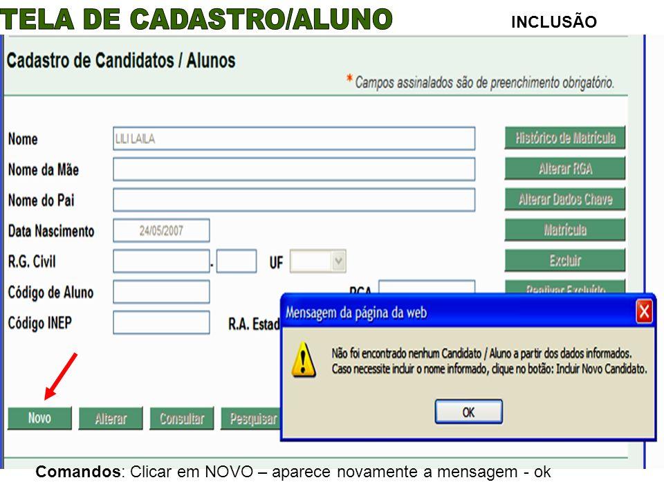 INCLUSÃO Comandos: Clicar em NOVO – aparece novamente a mensagem - ok