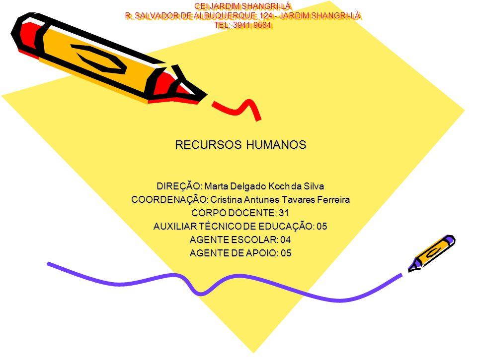 CEI JARDIM SHANGRI-LÁ R. SALVADOR DE ALBUQUERQUE, 124 - JARDIM SHANGRI-LÁ TEL: 3941-9684 RECURSOS HUMANOS DIREÇÃO: Marta Delgado Koch da Silva COORDEN