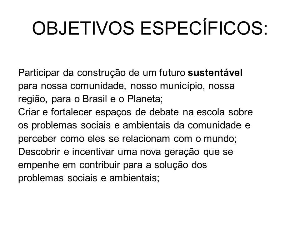 OBJETIVOS ESPECÍFICOS: Participar da construção de um futuro sustentável para nossa comunidade, nosso município, nossa região, para o Brasil e o Planeta; Criar e fortalecer espaços de debate na escola sobre os problemas sociais e ambientais da comunidade e perceber como eles se relacionam com o mundo; Descobrir e incentivar uma nova geração que se empenhe em contribuir para a solução dos problemas sociais e ambientais;