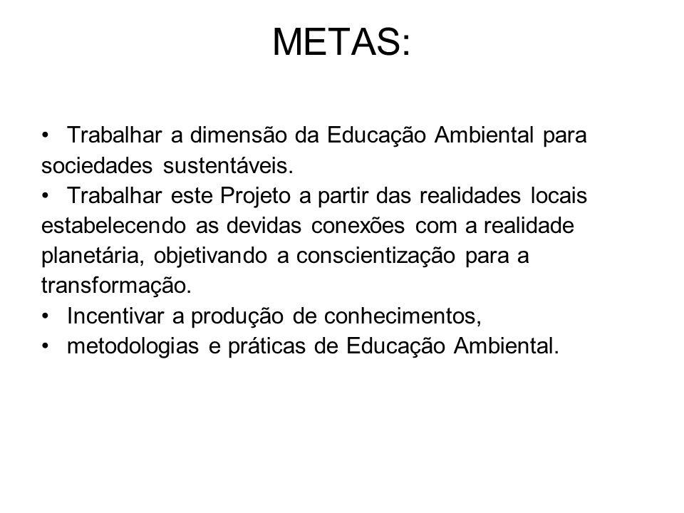 METAS: Trabalhar a dimensão da Educação Ambiental para sociedades sustentáveis. Trabalhar este Projeto a partir das realidades locais estabelecendo as