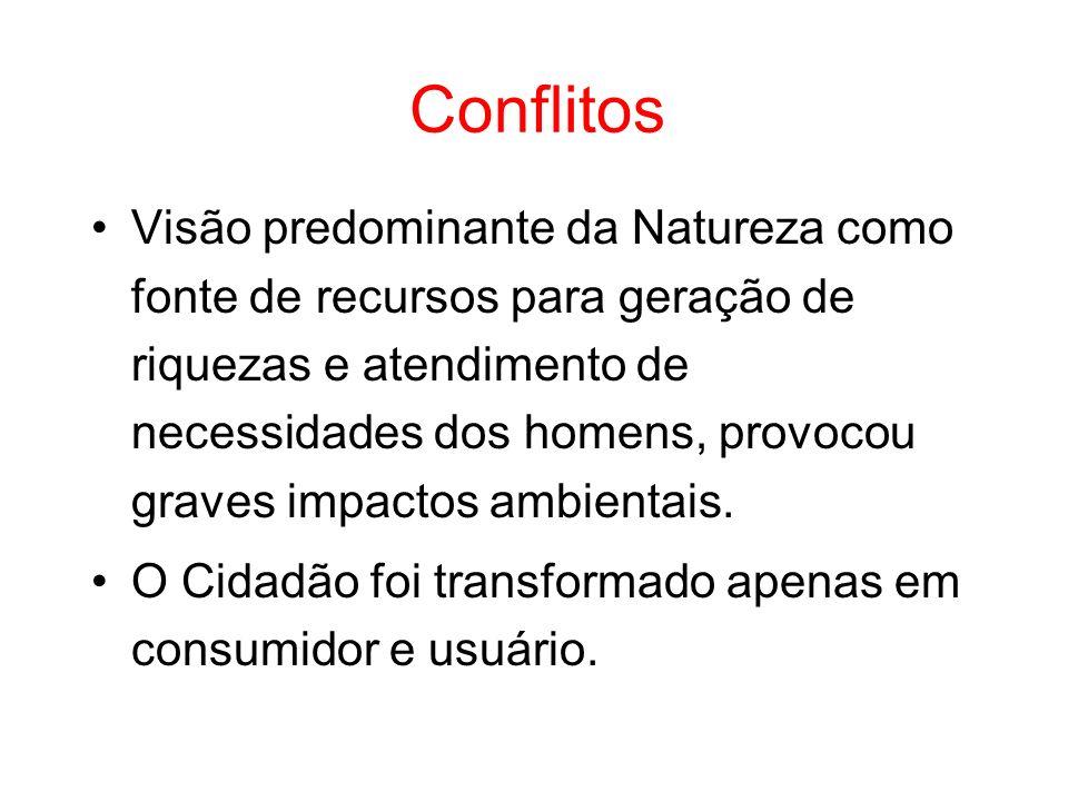 Conflitos Visão predominante da Natureza como fonte de recursos para geração de riquezas e atendimento de necessidades dos homens, provocou graves impactos ambientais.