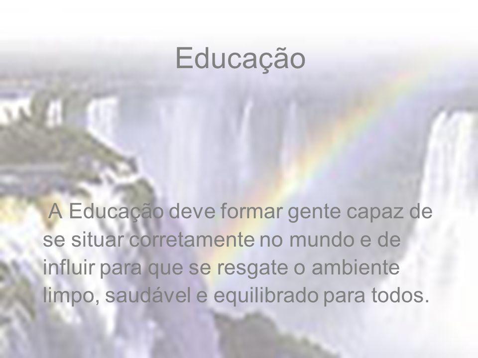Educação A Educação deve formar gente capaz de se situar corretamente no mundo e de influir para que se resgate o ambiente limpo, saudável e equilibrado para todos.