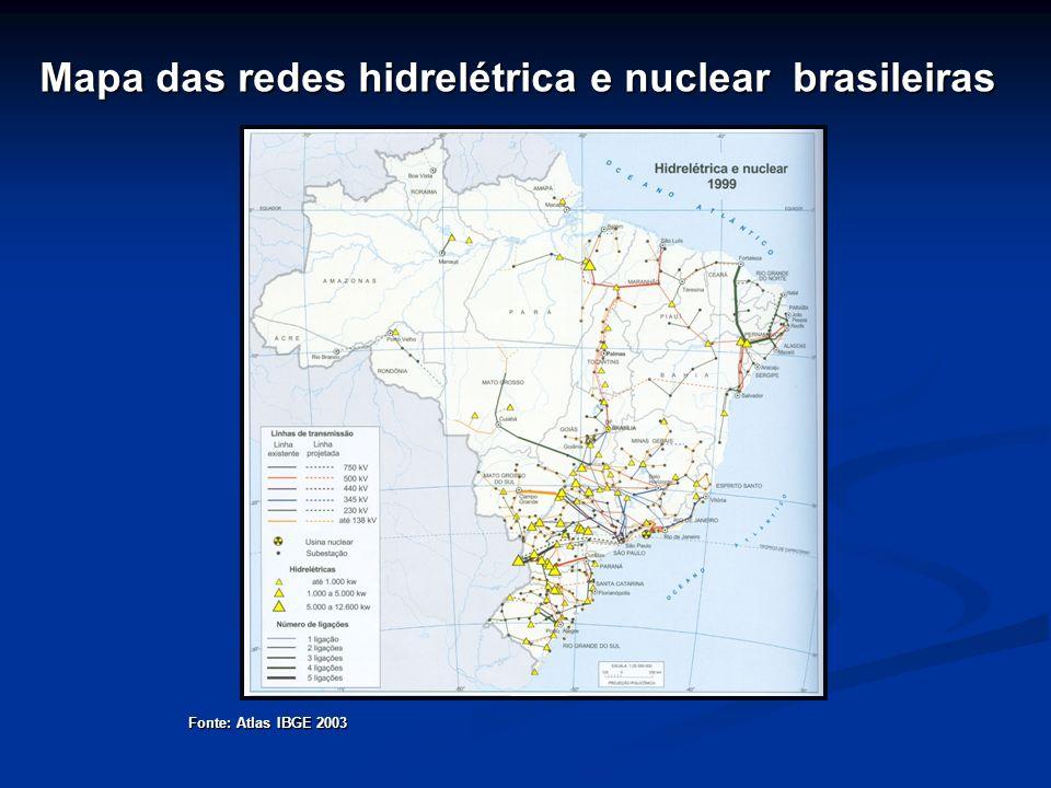 Mapa das redes hidrelétrica e nuclear brasileiras Fonte: Atlas IBGE 2003