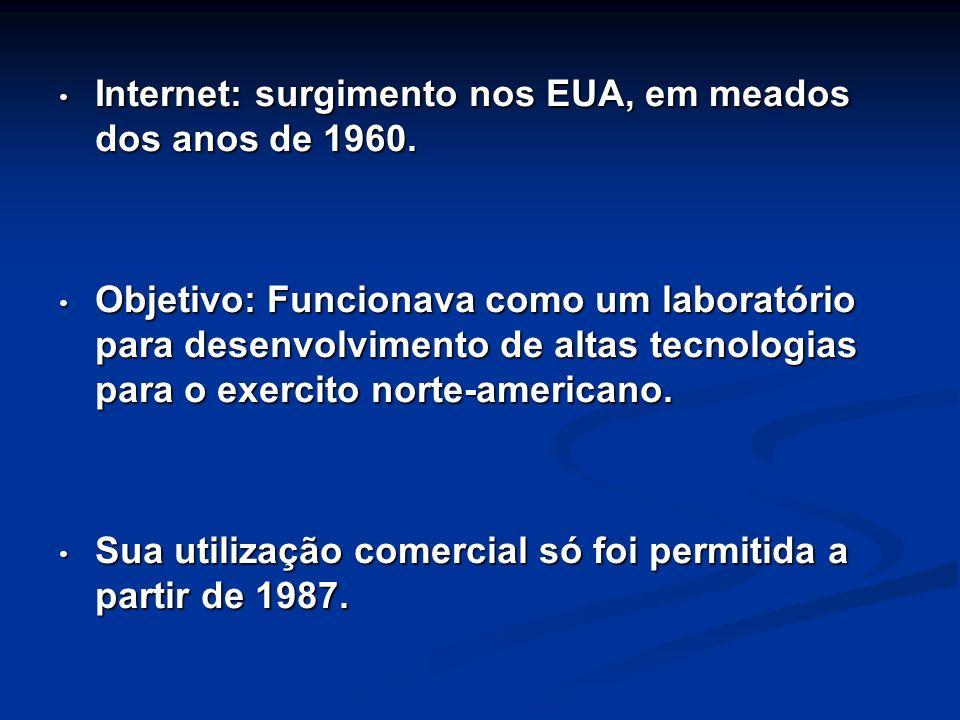 Internet: surgimento nos EUA, em meados dos anos de 1960. Internet: surgimento nos EUA, em meados dos anos de 1960. Objetivo: Funcionava como um labor