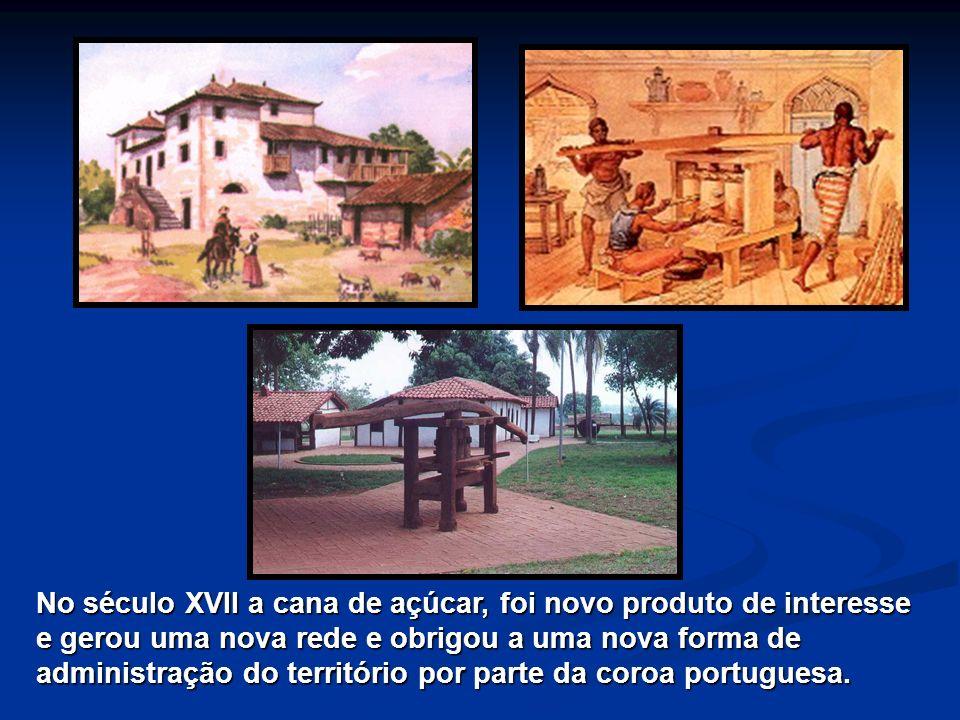 No século XVII a cana de açúcar, foi novo produto de interesse e gerou uma nova rede e obrigou a uma nova forma de administração do território por par