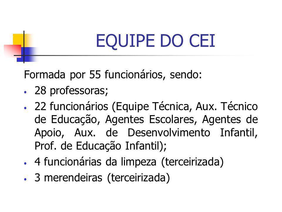 EQUIPE DO CEI Formada por 55 funcionários, sendo: 28 professoras; 22 funcionários (Equipe Técnica, Aux. Técnico de Educação, Agentes Escolares, Agente
