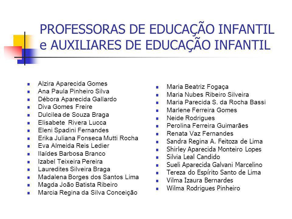 PROFESSORAS DE EDUCAÇÃO INFANTIL e AUXILIARES DE EDUCAÇÃO INFANTIL Alzira Aparecida Gomes Ana Paula Pinheiro Silva Débora Aparecida Gallardo Diva Gome