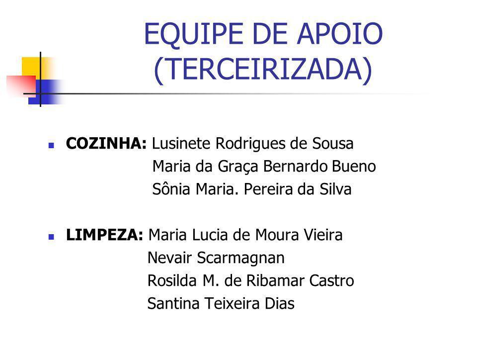 EQUIPE DE APOIO (TERCEIRIZADA) COZINHA: Lusinete Rodrigues de Sousa Maria da Graça Bernardo Bueno Sônia Maria. Pereira da Silva LIMPEZA: Maria Lucia d
