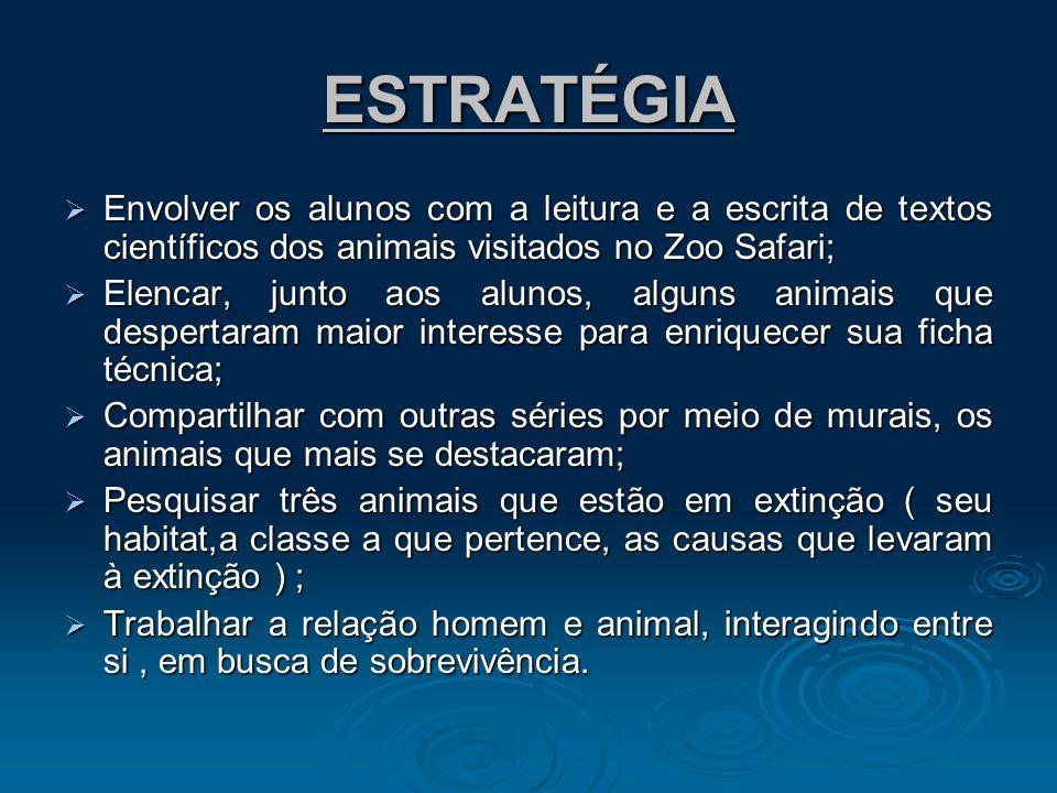 ESTRATÉGIA Envolver os alunos com a leitura e a escrita de textos científicos dos animais visitados no Zoo Safari; Envolver os alunos com a leitura e