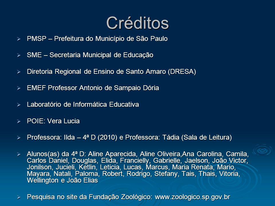 Créditos PMSP – Prefeitura do Município de São Paulo PMSP – Prefeitura do Município de São Paulo SME – Secretaria Municipal de Educação SME – Secretar