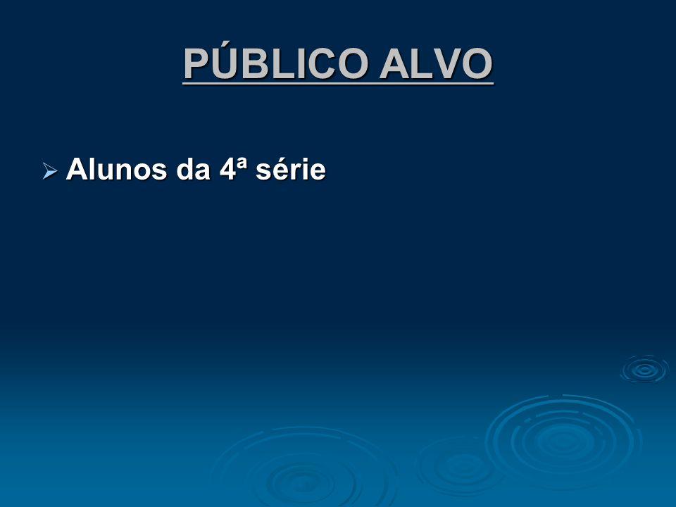 PÚBLICO ALVO Alunos da 4ª série Alunos da 4ª série