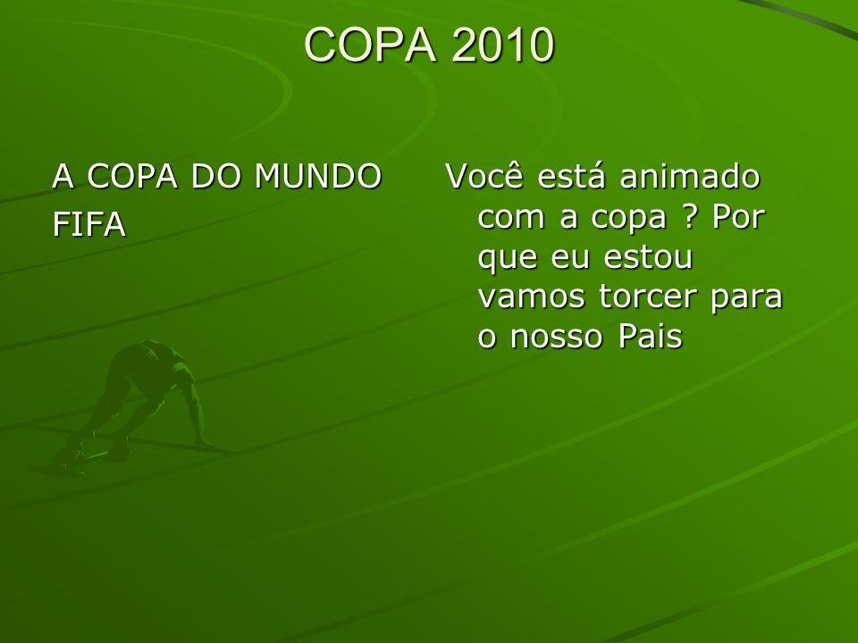 COPA 2010 COPA 2010 A COPA DO MUNDO FIFA Você está animado com a copa ? Por que eu estou vamos torcer para o nosso Pais