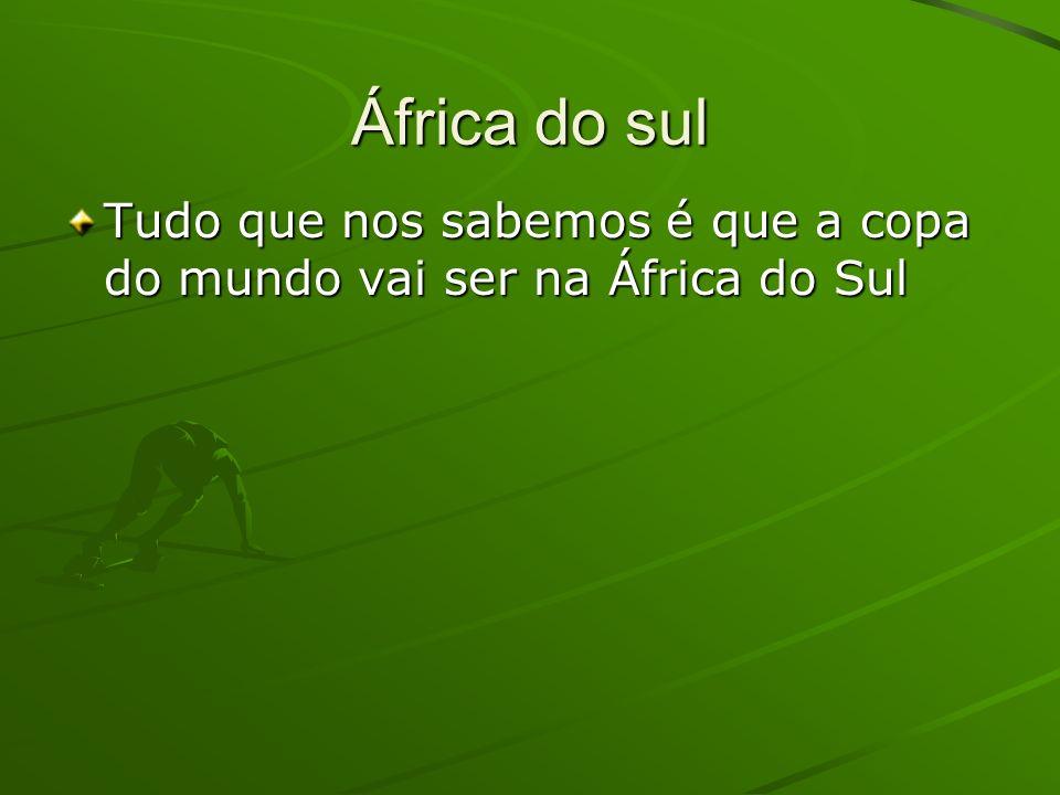 África do sul Tudo que nos sabemos é que a copa do mundo vai ser na África do Sul