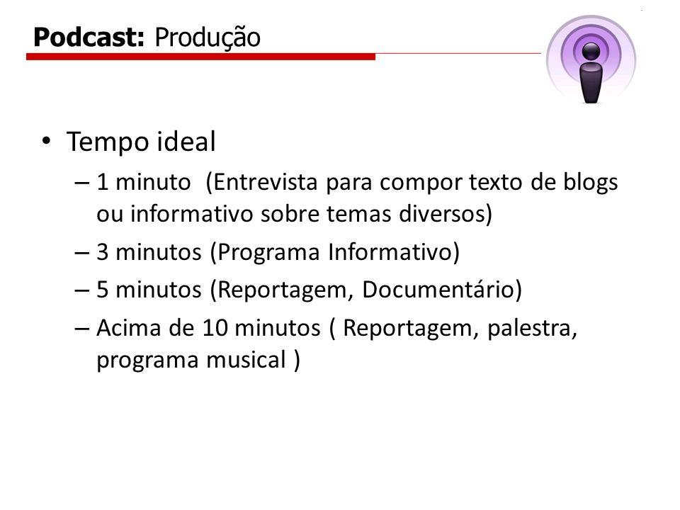 Podcast: Produção Tempo ideal – 1 minuto (Entrevista para compor texto de blogs ou informativo sobre temas diversos) – 3 minutos (Programa Informativo