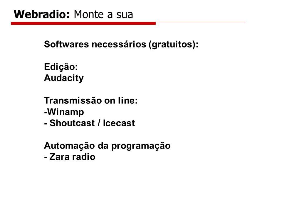 Softwares necessários (gratuitos): Edição: Audacity Transmissão on line: -Winamp - Shoutcast / Icecast Automação da programação - Zara radio Webradio: