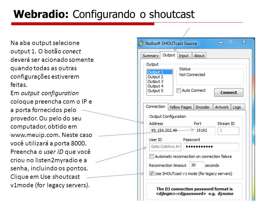 Na aba output selecione output 1. O botão conect deverá ser acionado somente quando todas as outras configurações estiverem feitas. Em output configur
