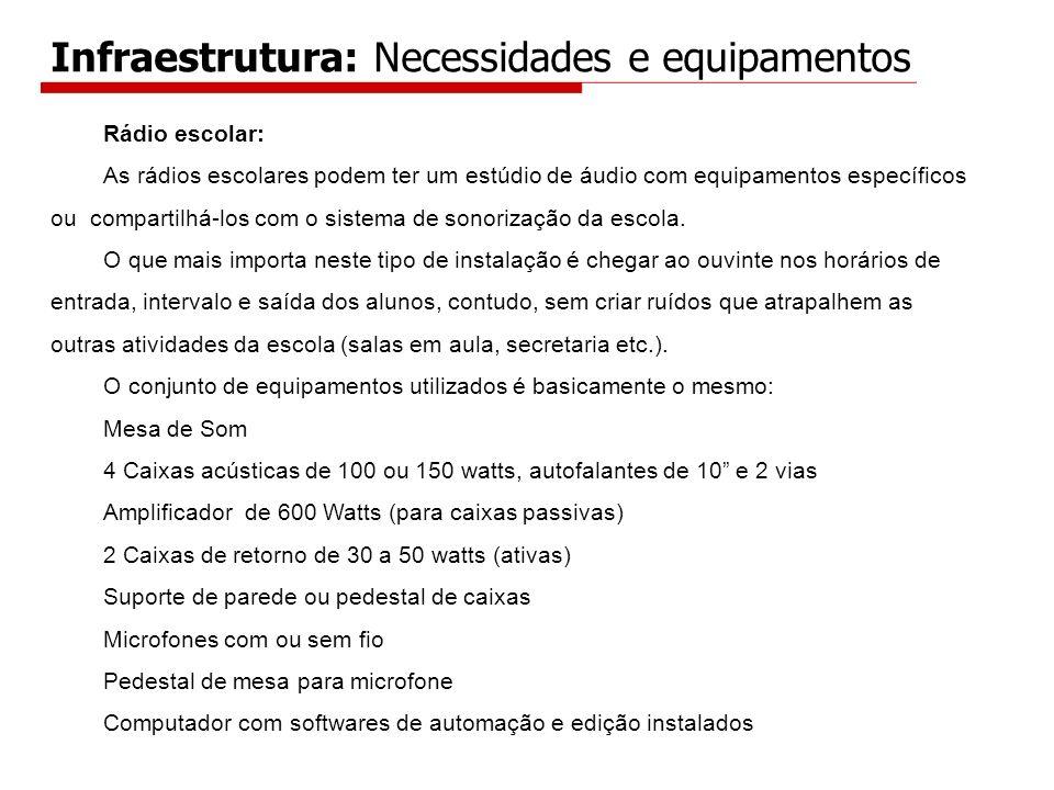 Infraestrutura: Necessidades e equipamentos Rádio escolar: As rádios escolares podem ter um estúdio de áudio com equipamentos específicos ou compartil