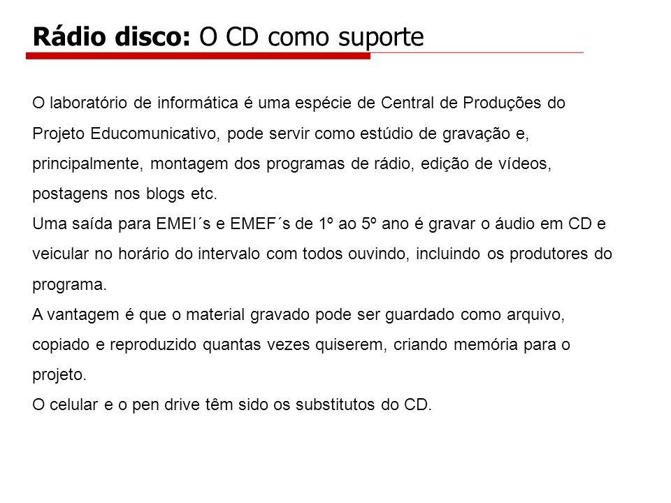 Rádio disco: O CD como suporte O laboratório de informática é uma espécie de Central de Produções do Projeto Educomunicativo, pode servir como estúdio