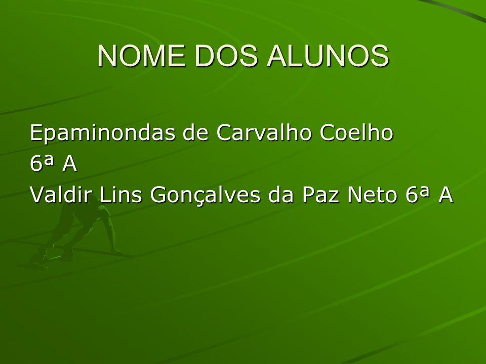 Epaminondas de Carvalho Coelho 6ª A Valdir Lins Gonçalves da Paz Neto 6ª A NOME DOS ALUNOS